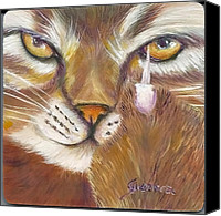 Brown Tiger Painting Canvas Prints - Ciao Canvas Print by Maria Pia Guarneri