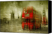 Old Houses Canvas Prints - City-Art LONDON Red Buses Canvas Print by Melanie Viola