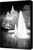 John Rizzuto Canvas Prints - City Hall Park Fountain 1990s Canvas Print by John Rizzuto
