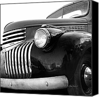 Old Trucks Canvas Prints - Classic Truck Grill black and white photograph Canvas Print by Ann Powell