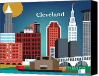 Public Square Canvas Prints - Cleveland Canvas Print by Karen Young