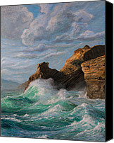 Sausalito Painting Canvas Prints - Cliffs End Canvas Print by Jeanette Sacco-Belli