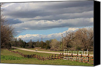 Fence Special Promotions - Cloudy Sky with a Log Fence Canvas Print by Robert D  Brozek