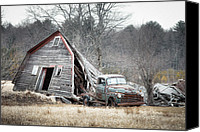 Old Trucks Canvas Prints - Collapsed Barn and Old Truck - Agricultural ghosts Canvas Print by Gary Heller