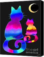 Nick Gustafson Canvas Prints - Colorful Cats and the Moon Canvas Print by Nick Gustafson