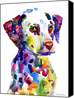 Bold Colors Canvas Prints - Colorful Dalmatian puppy dog portrait art Canvas Print by Svetlana Novikova