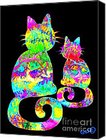 Nick Gustafson Canvas Prints - Colorful Rainbow Painted Cat Canvas Print by Nick Gustafson