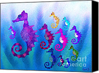 Nick Gustafson Canvas Prints - Colorful Sea Horses Canvas Print by Nick Gustafson