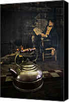 Tables Canvas Prints - Copper Teapot Canvas Print by Debra and Dave Vanderlaan