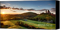 Simon Bratt Photography Canvas Prints - Corfe Castle sunrise panoramic Canvas Print by Simon Bratt Photography