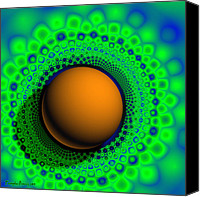 Signed Digital Art Canvas Prints - Cosmic Sphere in the knitted green plate. 2013 80/80 cm.  Canvas Print by Tautvydas Davainis
