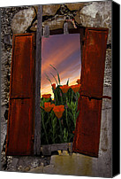 Debra And Dave Vanderlaan Canvas Prints - Courtyard Window Canvas Print by Debra and Dave Vanderlaan