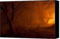 Creepy Painting Canvas Prints - Creepy forest at night Canvas Print by Sasa Prudkov