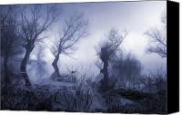 Creepy Painting Canvas Prints - Creepy landscape Canvas Print by Sasa Prudkov