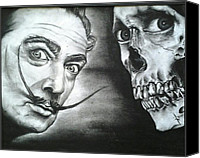 Featured Drawings Canvas Prints - Dali Meets The Dead Canvas Print by Ronnie Cantoro