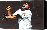 San Francisco Giants Painting Canvas Prints - Dancing in the Rain Canvas Print by Rudy Browne