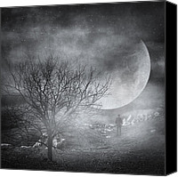David Lynch Canvas Prints - Dark night sky paradox Canvas Print by Taylan Soyturk