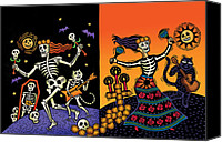 Bats Drawings Canvas Prints - Day of the Dead Canvas Print by Sue Todd