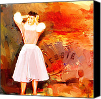 Corel Painter Canvas Prints - Debbie Reynolds Canvas Print by Dale Stillman