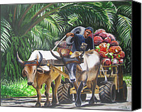 Cart Driving Canvas Prints - Delivering Fruit Canvas Print by Suzahn King
