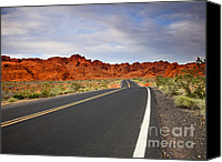Valley Of Fire Canvas Prints - Desert Highway Canvas Print by Mike  Dawson