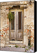 Brick Special Promotions - Dilapidated Brown Wood Door of Portugal Canvas Print by David Letts