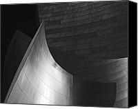 Downtown Los Angeles Canvas Prints - Disney Hall Abstract Black and White Canvas Print by Rona Black