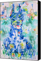 Dobermann Canvas Prints - DOBERMAN in the GRASS - watercolor portrait Canvas Print by Fabrizio Cassetta