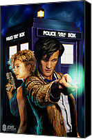 Song Drawings Canvas Prints - Doctor Who Canvas Print by FHT Designs