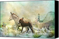 Donkey Mixed Media Canvas Prints - Donkies Day Off Canvas Print by Trudi Simmonds