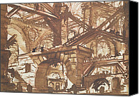 Ruin Drawings Canvas Prints - Drawing of an Imaginary Prison Canvas Print by Giovanni Battista Piranesi