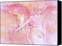 Angel Photographs Photo Canvas Prints - Dreamy Ethereal Pink Angel Art With Hearts Canvas Print by Kathy Fornal