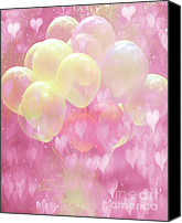 Hot Air Balloon Canvas Prints - Dreamy Fantasy Surreal Yellow Balloons With Pink Hearts  Canvas Print by Kathy Fornal