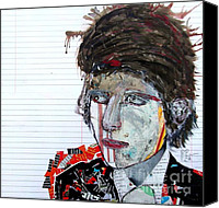 Famous Mixed Media Canvas Prints - Dylan Uncut Canvas Print by Brian Buckley