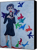 Edith Piaf Canvas Prints - Edith Piaf  The Little Sparrow Canvas Print by Suzanne Macdonald