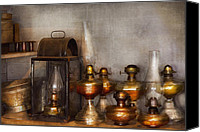 Oil Lamp Canvas Prints - Electrician - A collection of oil lanterns  Canvas Print by Mike Savad