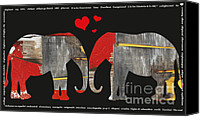 Barn Mixed Media Canvas Prints - Elephant Alphabet Love Canvas Print by Anahi DeCanio