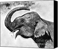 Black And White Pastels Canvas Prints - Elephant Study Canvas Print by Marie Stone Van Vuuren