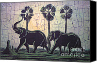 Batiks Painting Canvas Prints - Elephants after dark Canvas Print by Peter Chikwondi