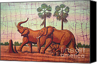 Batiks Painting Canvas Prints - Elephants Canvas Print by Peter Chikwondi
