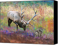 Elk Canvas Prints - Elk Art - Defending the Homeland Canvas Print by Elk Artist Dale Kunkel
