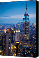 Tourist Canvas Prints - Empire State by Night Canvas Print by Inge Johnsson