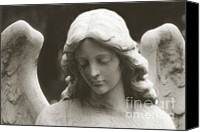 Guardian Angel Canvas Prints - Ethereal Dreamy Guardian Angel Art Wings and Face Canvas Print by Kathy Fornal