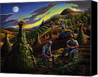 1950s Canvas Prints - farm landscape folk art Shucking Corn Fairy Tale Appalachian Sunset rural country Americana Canvas Print by Walt Curlee