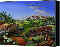 Groundhog Canvas Prints - farm landscape folk art Spring Groundhog Fairy Tale country life America Americana Rustic Scene Canvas Print by Walt Curlee