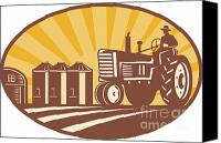 Barn Digital Art Canvas Prints - Farmer Driving Vintage Tractor Retro Woodcut Canvas Print by Aloysius Patrimonio
