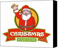 Waving Canvas Prints - Father Christmas Santa Claus Parade Canvas Print by Aloysius Patrimonio