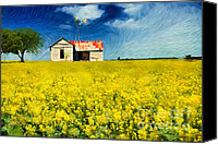Rapeseed Canvas Prints - Field of Dreams Canvas Print by Betty LaRue