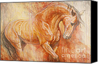 Horse Canvas Prints - Fiery Spirit - Original Canvas Print by Silvana Gabudean