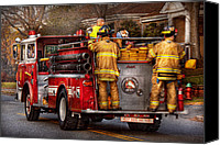 Mike Savad Canvas Prints - Fireman - Metuchen Fire Department  - Los Angeles version Canvas Print by Mike Savad